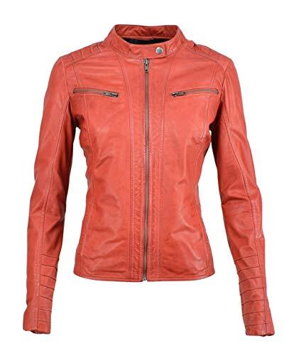 COCO BLACK LABEL since1986 Damen Lederjacke im Biker-Look aus echtem Lammleder Iza, Farbe:Orange, Größe:38