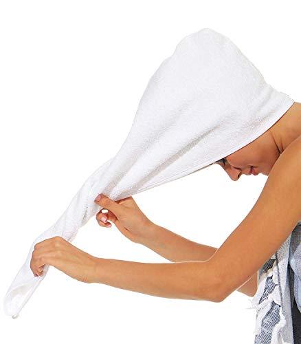 NATURA WALK Haarturban aus Bio -Baumwolle Farbe Weiss, Größe Turban