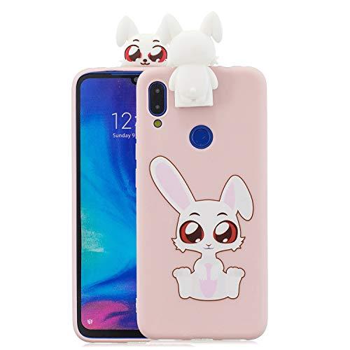 Jorisa Cover Silicone Morbido per Xiaomi Redmi 7,Cartoni Animati Carino Disegni Animali Custodia Protettiva con 3D Bambola Supporto,Ultra Sottile Slim TPU Gomma Gel Bumper Cover,Rosa