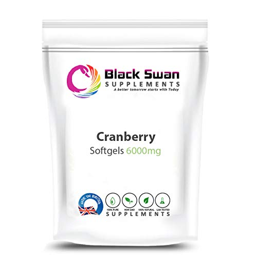 Black Swan Supplement Cranberry 6000mg Softgels - for Urinary Tract Support and Immune Health - Natural Antioxidants – Easy-to-Swallow – Promotes Good Health (120 caps)