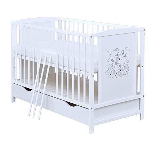 Baby Delux Babybett Kinderbett Gitterbett weiß 120x60 mit Schublade Bettkasten Bärchen Motiv