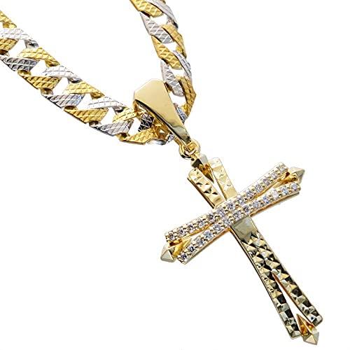 喜平 ネックレス 24金 純金 K24 24K メンズ 喜平ネックレス ゴールド 純プラチナ Pt999 リバーシブル コンビ 模様 44g 50cm 5mm幅 K18 ダイヤモンド クロス 十字架 ペンダントトップ セット 日本製 刻印入り 鑑別書付き