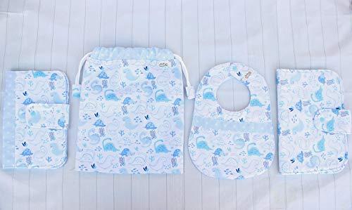 Set regalo para bebé babero bolsa para la ropa porta documento y portapañal