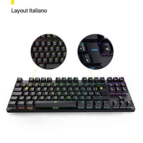 DREVO Tyrfing V2 Tastiera Meccanica Gaming 88 Tasti Layout Italiano RGB Backlit Completamente Personalizzato Macro Programmabili Supporto Software Switch Marrone, Nera