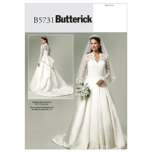Butterick Patterns B5731 Size A5 6-8-10-12-14 Misses' Dress, Pack of 1, White