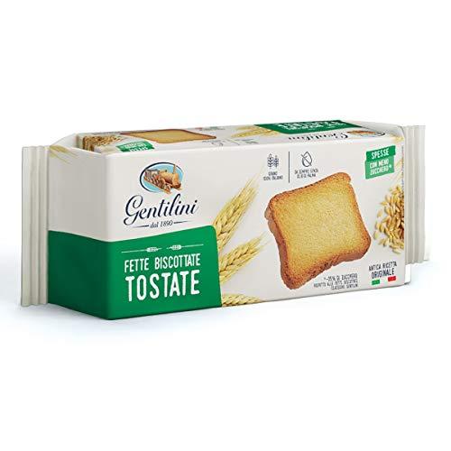 6x Gentilini Fette Biscottate Tostate dicke geröstete Zwieback Brot Backwaren mit weniger Zucker 100% Italienisches Produkt 175g