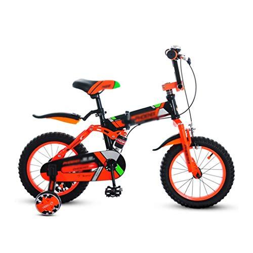 Jieer Bicicleta Montaña Niño, Bicicletas Bicicleta para Niños Plegable 14 Pulgadas Alumnos Mountain Body High, Cochecito para Niños de 100-130 Cm (Color: Naranja, Tamaño: 14 Pulgadas)