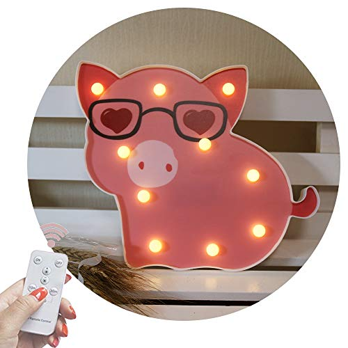 Obrecis LED Pig Marquee Signs, Animal Night Lights with Remote Timer Dimmable Pig Decor Swine Lamp for Child, Kids, Girls Birthday Party Gift, Bedroom- Pink Pig