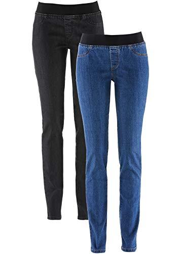 bonprix Kombinationsstarke Basic-Leggings in Jeansoptik mit angedeuteten Taschen blau/schwarz 46 für Damen