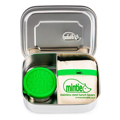 Mintie Duo Edelstahl Lunchbox Set – BPA-frei Eco Metall Pack Lunchbox Fächer Snack Topf Silikonband Baumwolle Lunchbox für Kinder Tiffin Box Salat Lunchbox Sandwich Container