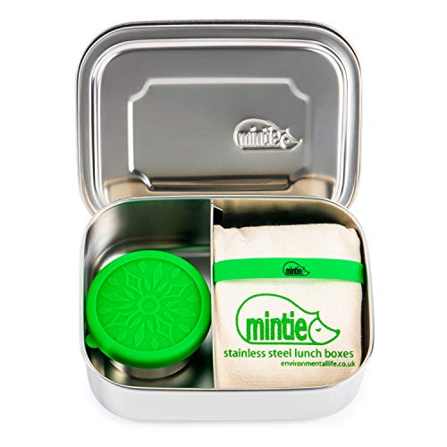 Mintie Duo Stainless Steel Lunchbox Set - BPA Free Eco Metal Pack Lunch Box Compartments Snack Pot Silicone Band Cotton Lunch Bag Lunchbox for Kids Tiffin Box Salad Lunch Box Sandwich Container