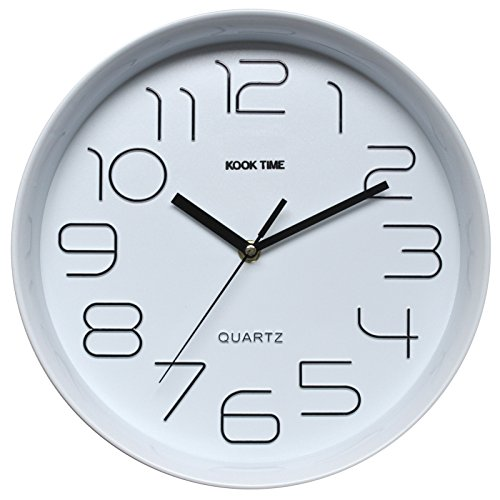 Kook Time Reloj Pared Retro Redondo, Blanco, 28.5x28.5x5.2 cm