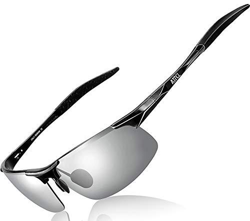 ATTCL Herren Polarisierte Treiber Glasses Sport Sonnenbrille Al-Mg Metallrahme Ultra leicht 8177 Silber