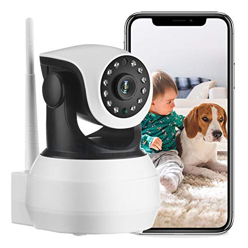 Cámara de Seguridad Interior, Monitor para bebés, cámara IP 1080P HD 4G SIM CCTV, PTZ de 360 ° visión Nocturna Audio de 2 Canales Detección de Movimiento Alerta de Empuje (Cámara+Tarjeta TF de 32G)