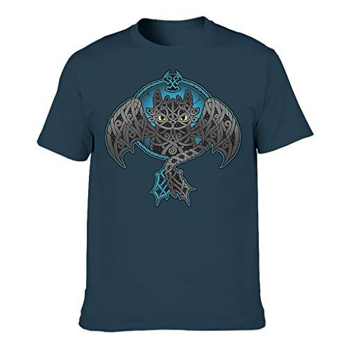 Lässig Herren T-Shirt Wikinger Nacht Wut Drachen Keltisch Knoten Druck Tribal Hemden Navy m