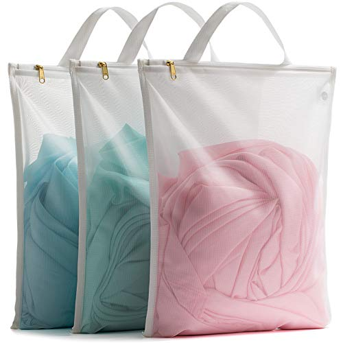 TENRAI Laundry Bag Mesh Wash Bag,Use YKK Zipper,Tote Bag Bathroom Hanging Bra Fine Mesh Wash Bag for Underwear 3 Bags(3M White)