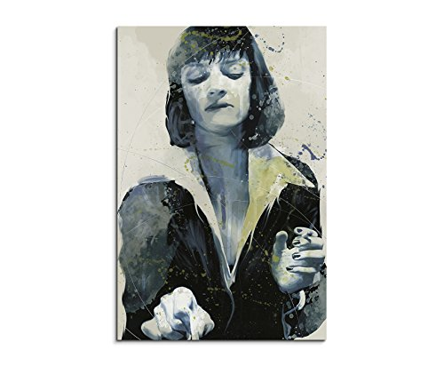 Uma Thurman Pulp Fiction Aqua 90x60cm - Splash Art Paul Sinus Wandbild auf Leinwand - Malerei, Kunstbild, Aquarell, Fineartprint