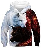 GLUDEAR Teen Boys Girls Novelty Animal Galaxy Hoodies Sweatshirts Pullover,Flame Ice Galaxy Wolf,13-15T