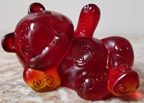 Fenton Reclining Bear - Sand Carved Red Solid Glass - Rosso USA - OOAK