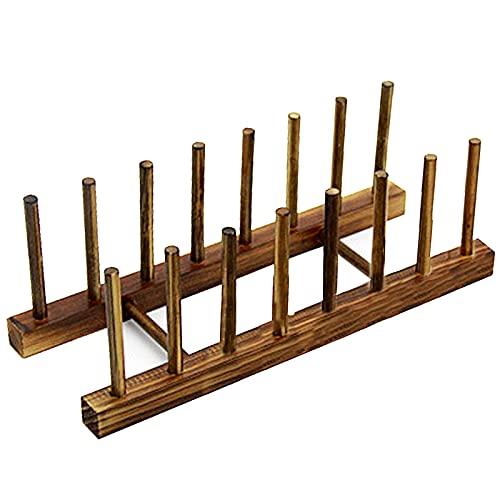 Gsrhzd Porta piatti in legno, Scolapiatti In Legno, Organizer per armadio da cucina per coperchio piatto / tazza / pentola (marrone, 7 slot)
