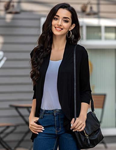 Zeagoo-Womens-Open-Front-Cardigan-34-Sleeve-Draped-Ruffles-Soft-Knit-Sweaters