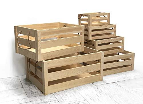 Kit 6 cajas de madera de pino natural con asas