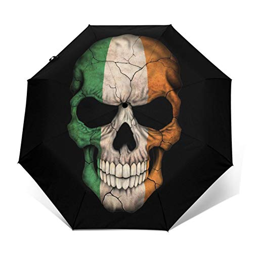 DOWNN Automatic Tri-Fold Umbrella 3d Outer Print Irish Flag Skull Waterproof Sunscreen Windproof Durable Folding Umbrellas For Unisex Mens Womens Outdoors