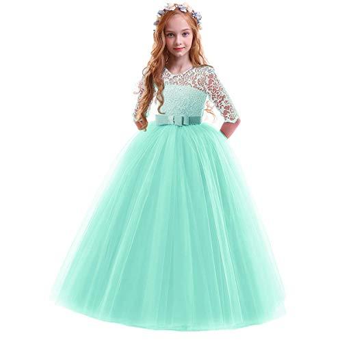 OwlFay Vestido Largo de Encaje Princesa para niñas Flor de la Vendimia Dama de Honor Fiesta Formal Primera comunión Cumpleaños Prom Vestidos de Tul Rosado 2-3 años