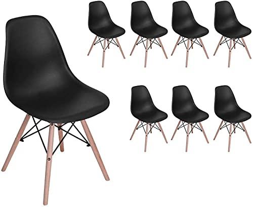 H.J WeDoo 8er Set Moderne Wohnzimmerstuhl Esszimmerstuhl Bürostuhl Kunststoff Massivholz Chair im skandinavischen Stil, Schwarz