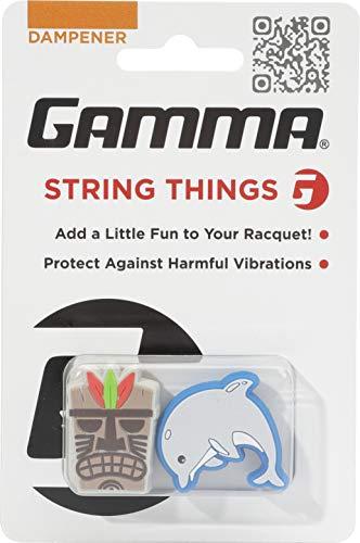 Gamma String Things Maske, Delfin Dämpfer Im Doppelpack-Grau, Blau, Accessorio per Racchetta Unisex-Adulto, Multicolore