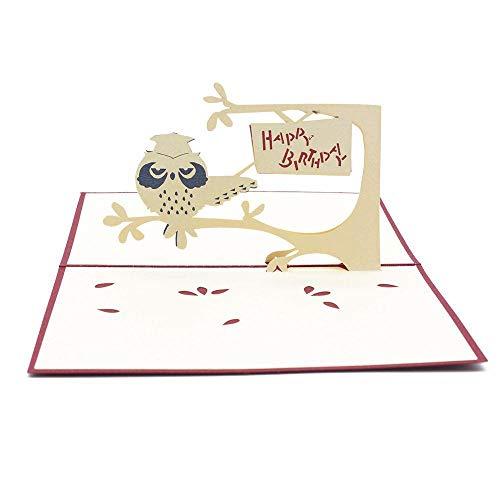 Yener Verjaardag Postkaart Groet Cadeaubonnen Blanco Papier 3D Pop Up KaartUil Handgemaakte Verjaardagstaart Kaarsen Feestdecoratie gunst