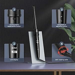 ELEHOT Lockenstab 5 in 1 LCD Keramikbeschichtung Multifunktions Austauschbare Lockenwickler Kit