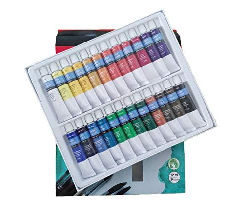 Kit de Pintura Acuarela Manualidades Pigmentos Superior No Tóxico, Set Water Paint Juego De 24 Colores Tubos 12ml para Maletin Clase de Pintura Adecuada para Niños Profecionales (Acuarela 24x12ml)