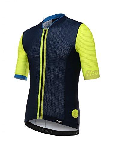 Santini - Tono 2.0 - Jersey de Ciclismo para Hombre, de Manga Corta, Tono 2.0, Hombre, Color Amarillo, tamaño Large