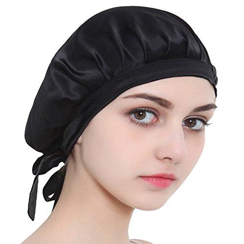 Nicole Knupfer 100% Seide Schlafmütze Atmungsaktive Nachtmütze Kopfbedeckung Schlaf Cap Hut mit elastischen Band Full Size für Haarpflege (Schwarz)