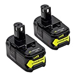 2Pack 4.0Ah Replacement for Ryobi 18V Lithium Battery P104 P105 P102 P103 P107 P109 P108 P100 for Ryobi 18-Volt Battery