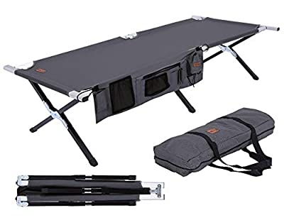 Tough Outdoors Camp Cot [XL] with Free Organizer & Storage Bag - Military Style Folding Bed for Camping, Traveling, Hunting, and Backpacking - Lightweight, Heavy-Duty & Portable Cots for Adults