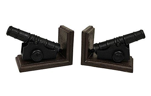 zeitzone Buchstützen Kanone 2 Stück Buchständer Gusseisen Set Kolonialstil Antik-Stil