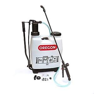 Oregon 518769 Mochila a presión para jardín con Lanza, 2 boquillas de pulverización Ajustables, 16 L