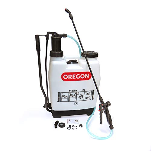 Oregon 518769 Knapsack Backpack Pressure Garden Weed Killer Sprayer with Lance and 2 Adjustable Spray Nozzles, 16 Litres