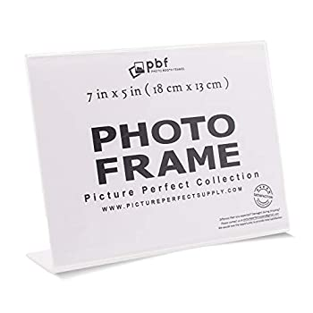 Photo Booth Frames - 7x5 Inch Clear Acrylic Display Slanted Back 7x5 Horizontal Picture or Display Plastic Sign Holder with Inserts - 12 Count