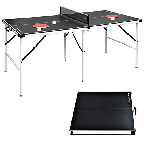 WIN.MAXMesa de Ping-Pong Mediana, Mesa de ping-pong plegable con red HBT: 152.4 x 73 x 69 cm, placa TT para interiores y exteriores, Negro