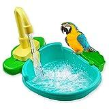 Hete-supply - Vasca da bagno per uccelli con giocattoli, vasca da bagno automatica per uccelli con rubinetto, per animali domestici, per piscina e uccelli