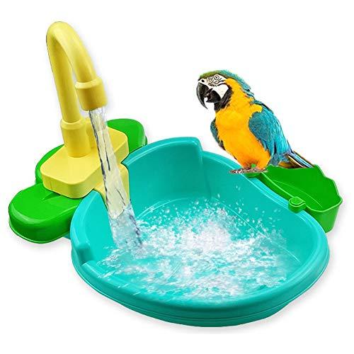 Bañera para pájaros, bañera automática Parrot con grifo, ducha para pájaros Alimentador para bañera de baño Comedero para pájaros Bañera automática para loros Piscina Comedero para pájaros Baño