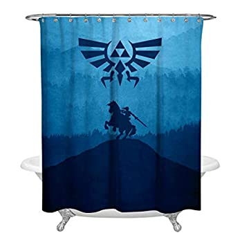 SHDU The-Legend-of-Zelda Silhouette Forest Mountain Waterproof Shower Curtain Polyester Fabric Digital Printing Bathroom Curtain with Hooks