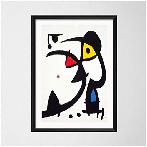 """NIEMENGZHEN Impresión en Lienzo Joan Miro Surrealismo Moderno Pinturas artísticas Cuadro Abstracto Arte Retro Lienzo Pintura Poster Wall Home Decor 23.6""""x 31.4"""" (60x80cm) Sin Marco A"""