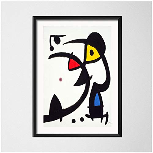 NIEMENGZHEN Druck auf Leinwand Joan Miro Modern Surrealism Art Paintings Abstraktes Bild Retro Art CanvasPainting Poster Wand Wohnkultur 50 x 70 cm (19,6