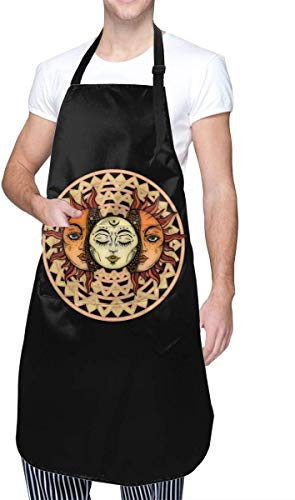 Jianxiong Moon in The Sun Face Half Sleep Theme Cooking Painting Party Working Women Men Youth Pocket Waterproof Apron Home Kitchen Decorations