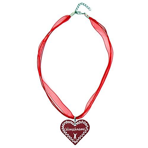 benobler Trachtenschmuck Trachtenkette Organzaband rot mit Filz Herz Damen Dirndlkette Organzakette Oktoberfest Wunschaufdruck (Herz - burgundy)