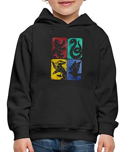Spreadshirt Harry Potter Maisons Poudlard Pull À Capuche Premium Enfant, 12-14 Ans, Noir